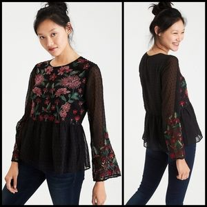 AEO embroidered peplum top size S
